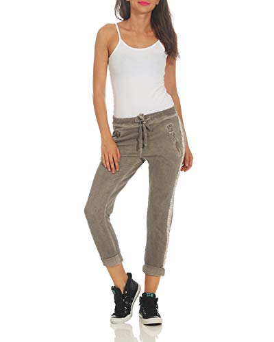 avec Boyfriends Dames Occasionnels Pantalons Cappuccino Affaires Incrustation Pantalon ZARMEXX 816133 Pantalons Coton vXZwPq1