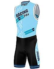Fdx Triathlon pak voor heren, ademend, sneldrogend, mouwloos, trisuit voor duatlon zwemmen, fietsen, hardlopen, eendelige bodysuit, fietskleding voor fietstraining, racefietsen