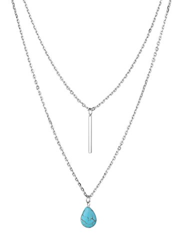 Synthetic Turquoise Pendant Necklace Stainless