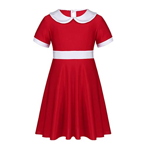 TiaoBug Kids Girls White Collar Christmas Xmas Party Dress Annie Orphan Costume Red 6-7 ()