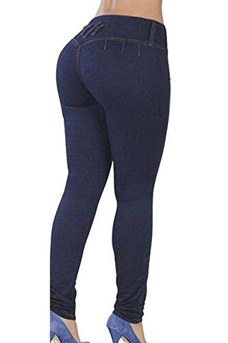 La Mujer Casual Dos Botones Elastico Lavado Distressed Denim Jeans Pantalones De Longitud Completa Darkblue