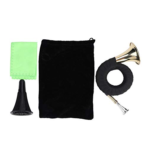 Bb Pocket Hunting Horn,Brass Hunting Horn Musical Instruments with Carry Bag Stand Cleaning Cloth and Bracket from koulate