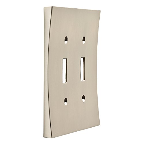Double Chrome Plate (Franklin Brass 64928 Concave Double Toggle Switch Wall Plate / Switch Plate / Cover, Satin Nickel)