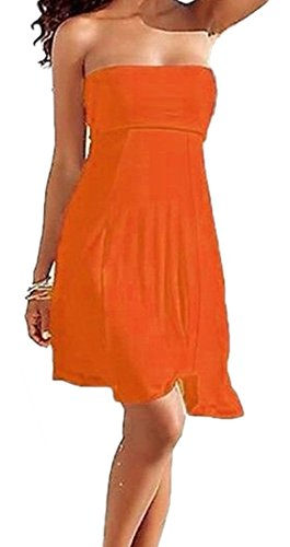 SODACODA 4 Styles in 1 - Strapless Beach Cover-up Summer Beachwear Party Dress or long bohemian Skirt �?all colours (S-XL) Orange