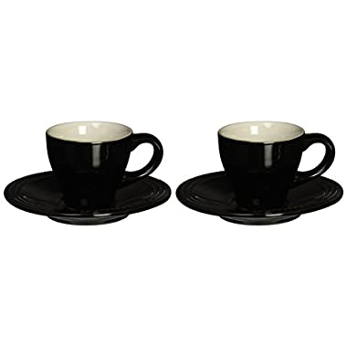 Le Creuset Stoneware Set of 2 Espresso Cups and Saucers - Black