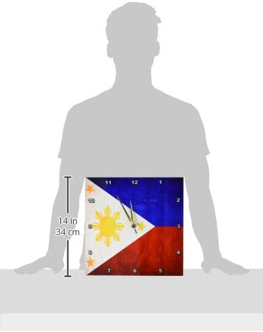 3dRose DPP_28282_2 Philippines Flag Wall Clock, 13 by 13