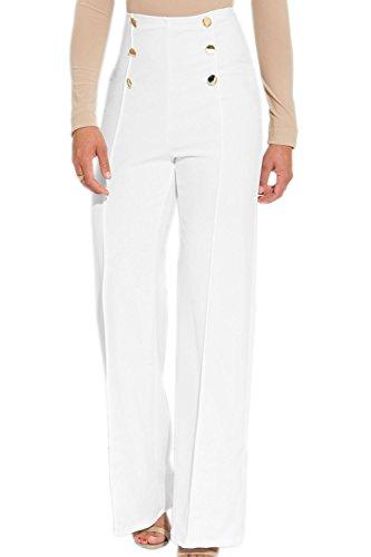 De Botton Casual Fondo Alta Pantalones White Cintura Up Mujeres Verano Yulinge Campana wEIqBz8