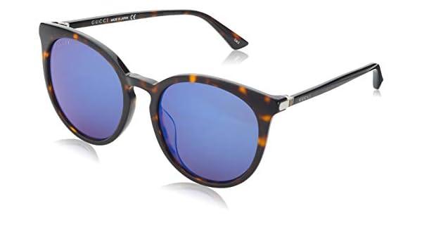 30460b47be6f Gucci GG 0064SK 003 Havana Plastic Round Sunglasses Blue Mirror Lens:  Amazon.ca: Clothing & Accessories