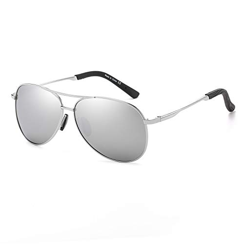 Polarized Aviator Sunglasses for Men and Women-100 UV Protection Mirrored Lens -Metal Frame with Spring Hinges (Silver Frame Silver Mirrored Lens) ()