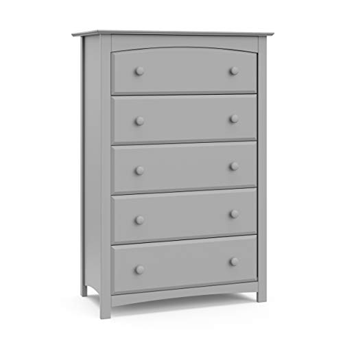 Storkcraft Kenton 5 Drawer Universal Dresser, Pebble Gray, Kids Bedroom Dresser with 5 Drawers, Wood and Composite Construction, Ideal for Nursery Toddlers Room Kids Room from Storkcraft