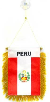AZ FLAG BANDERIN de PER/Ú 15x10cm con Ventosa BANDERINA PERUANA 10 x 15 cm para Coche