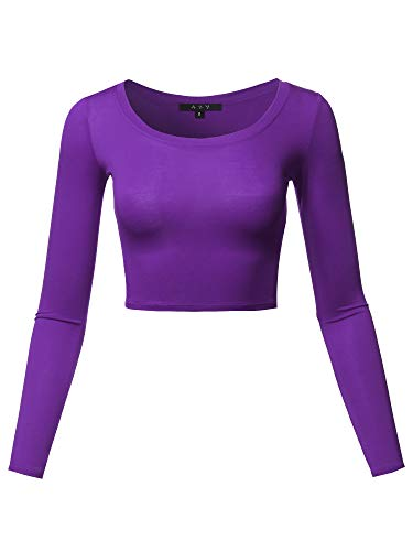 Basic Solid Stretchable Scoop Neck Long Sleeve Crop Top Purple L
