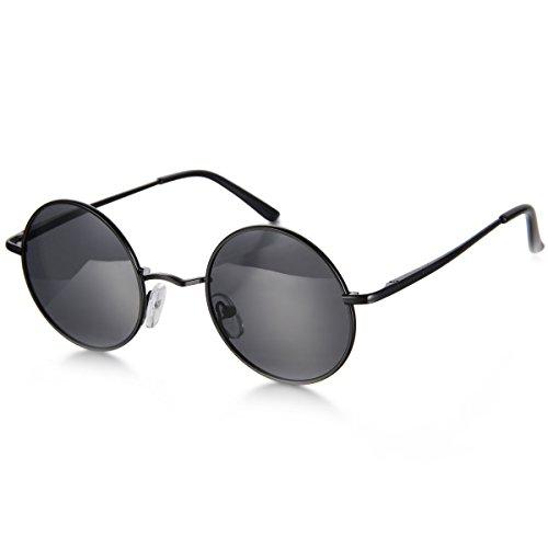 Aroncent Herren Damen Sonnenbrille, Retro Rund Kreis Strahlenschutz Polarisierte Vollrand Sonnenbrille, 3 Farben: Silber, Blau, Schwarz