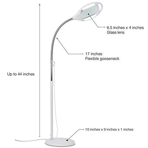Brightech LightView Pro LED Magnifying Floor Lamp - Daylight Bright Full Spectrum Magnifier Lighted Glass Lens - Height Adjustable Gooseneck Standing Light - for Reading Task Craft Lighting - White
