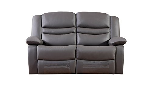 American Leather Sectional (American Eagle Furniture Bayfront Collection Leather Reclining Loveseat with Pillow Top Armrests, Dark)