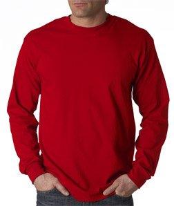 Gildan Activewear Ultra Cotton Long Sleeve Tee Shirt, RED