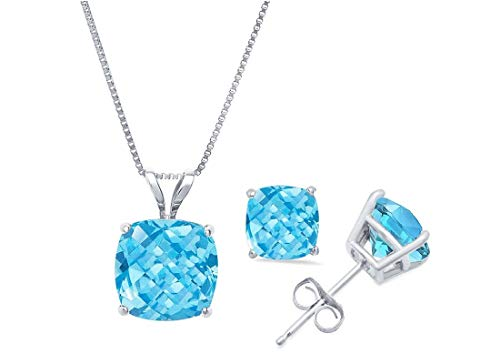 (14k White Gold Cushion-Checkerboard-Cut Swiss Blue Topaz Pendant Necklace & Stud Earring Boxed Set, 18