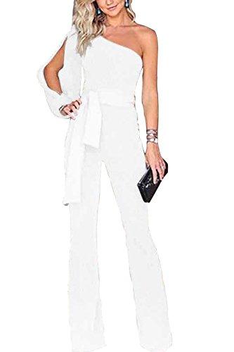 FairyMei Women's Work Formal One Shoulder Formal Jumpsuits Wide Leg Long Romper Pants with Belt (Large, White)