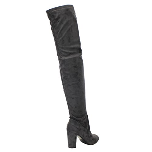 BELLA MARIE AE69 Damen Innenreißverschluss Blockabsatz über Kniehohe Stiefel Grau