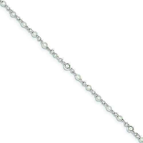 JewelryWeb 925 Sterling Silver Freshwater Cultured Pearl Heart Anklet - 10 Inch - Spring Ring - Heart Freshwater Pearl Bracelet