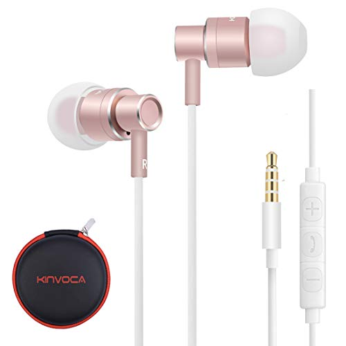 KINVOCA Wired Metal In Ear Earbuds Headphones with Microphone Remote Volume and Case,Bass Stereo Noise Isolating Inear Earphones Ear Buds for Cell Phones MP3 Player,Aluminum Alloy,3.5mm Jack,Rose Gold