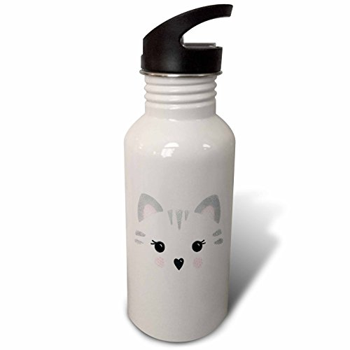 3dRose Noonday Design - Animals - Cute tabby cat face in gray and pink - Flip Straw 21oz Water Bottle (wb_281735_2) by 3dRose