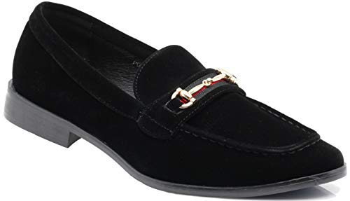 Enzo Romeo Pucci01 Men Dress Loafers Horse Bit Moc Toe Penny Loafer Buckle Slip on Tuxedo Dress Shoes (13 D(M) US, Black ()