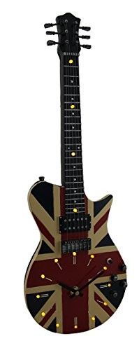 Zeckos Resin Wall Clocks Stringing Time Union Jack British Flag 16 Led Electric Guitar Wall Clock 21 In. 7.25 X 21.5 X 2 Inches Multicolored