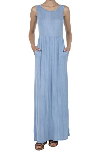 SHOP DORDOR 8068 Women's Distressed Sleeveless Casual Pockets Pleated Loose Swing Maxi Dress Denim ()