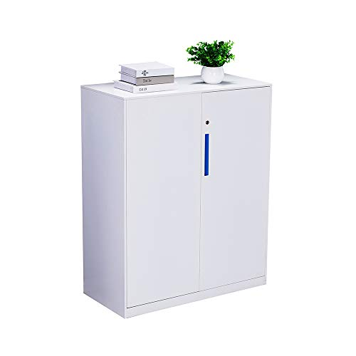 Half Height Metal Office File Cabinet,Swing Door Metal Office Cabinet with Doors and Adjustable Shelves in White Color