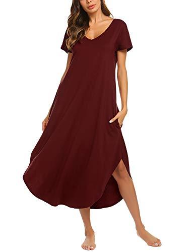 - luxilooks Women's Elegant Nightgown Short Sleeve Sleepwear Comfort Long Sleep Dress(Wine Red,Large
