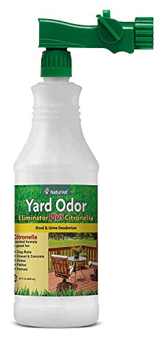 NaturVet - Yard Odor Eliminator Plus Citronella Spray - Eliminate Stool and Urine Odors from Lawn and Yard - Designed for Use on Grass, Patios, Gravel, Concrete & More - 32oz with Hose Nozzle