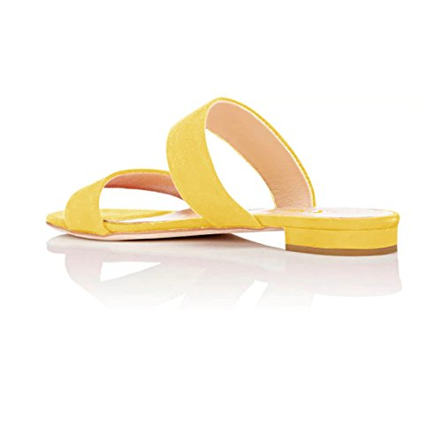 7a9e264e37174 ... Fsj Femmes Double Bretelles Slip Sur Mules Sandales À Talons Bas Ouvert  Toe Slide Chaussures Plates ...