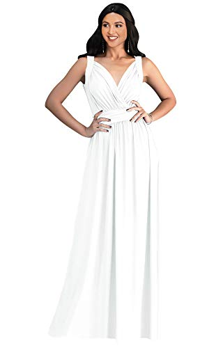 KOH KOH Plus Size Womens Long Sleeveless Flowy Bridesmaids Cocktail Party Evening Formal Sexy Summer Wedding Guest Ball Prom Gown Gowns Maxi Dress Dresses, Ivory White XL 14-16