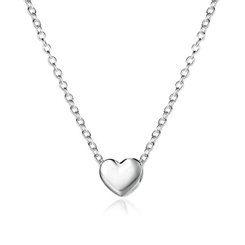 925 Sterling Silver Womens Simple Delicate Heart Chokers Necklace Jewelry Personalized Small Love Necklace for women