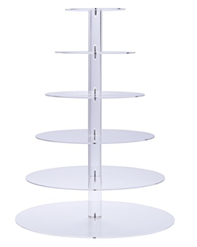 BonNoces Six 6-Tier Round Acrylic Wedding Cake Stand/Cupcake Tower/Dessert Display/Tea Party Serving Platter for Wedding Party