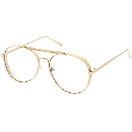 sunglassLA - Oversize Metal Aviator Eyeglasses With Triple Crossbar Side Cover Clear Flat Lens 60mm (Gold / - Glasses Sides Gold With
