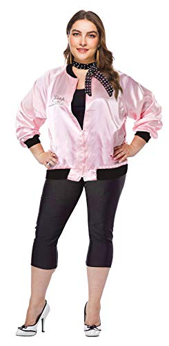 Womens Plus Size 50S Grease Pink Ladies Jacket T Bird Danny Fancy Costume (XXXL, Pink& Black)