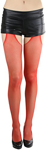 ToBeInStyle Women's Fishnet Suspender Seamless Pantyhose - Red