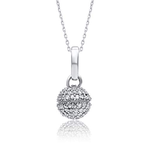 1/5 Necklace Fashion Ct Diamond - 1/5 Carat Natural Diamond Pendant Necklace 10K White Gold (HI Color, I3 Clarity) Diamond Cluster Pendant Necklace for Women Diamond Jewelry Gifts for Women