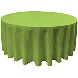 LA Linen Polyester Poplin Round Tablecloth, 120-Inch, Lime