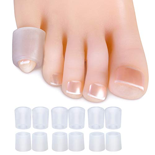 Sumifun Gel Toe Protector, Open Toe Sleeves for Bunions, (6PCS Thin+6PCS Thick) Pinky Silicone Toe Protectors for Corns, Hammer Toes, Toenails Loss, Friction Pain Relief