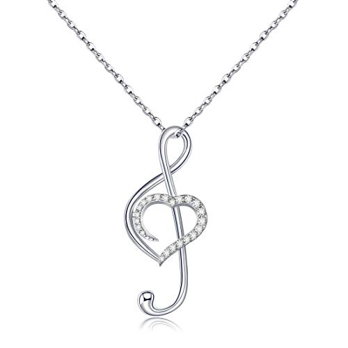 CAT EYE JEWELS 925 Sterling Silver Music Note with Love Heart Cubic Zirconia Pendant Necklace ()
