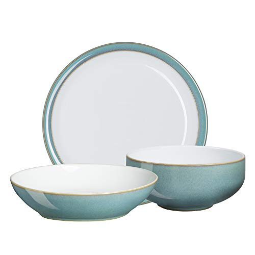 Denby AZR-12PCP AZURE 12PPS (Dinner, Pasta, Cereal) Dinnerware Set, One size, aqua; teal
