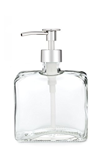 Rail19 Urban Square Recycled Glass Soap Dispenser with Metal Pump (Chrome - Dispenser Nickel Square Soap