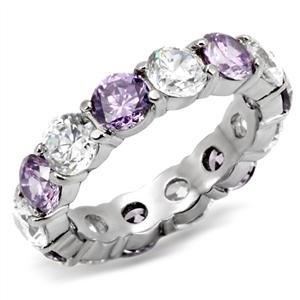 Women's Stainless Steel Purple and Clear Round CZ Eternity Band