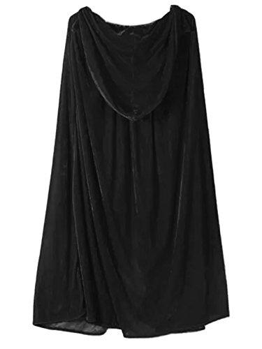 WESTLINK Kids Halloween Crushed Velvet Hooded Cape for Girls And Boys Black Black Medium - Capes For Girls