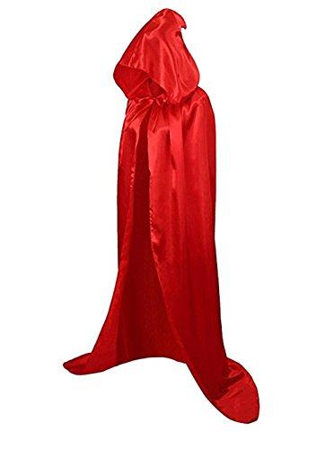 Halloween Costume Unisex Full Length Hooded Cape Costume Cloak (XL, Red)