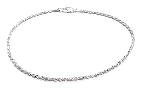 Sterling Silver 2mm diamond cut rope chain bracelet- Made In Italy (Silver, 7)