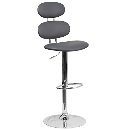 Flash Furniture CH-112280-GY-GG Contemporary Gray Vinyl Adjustable Height Barstool with Chrome Base